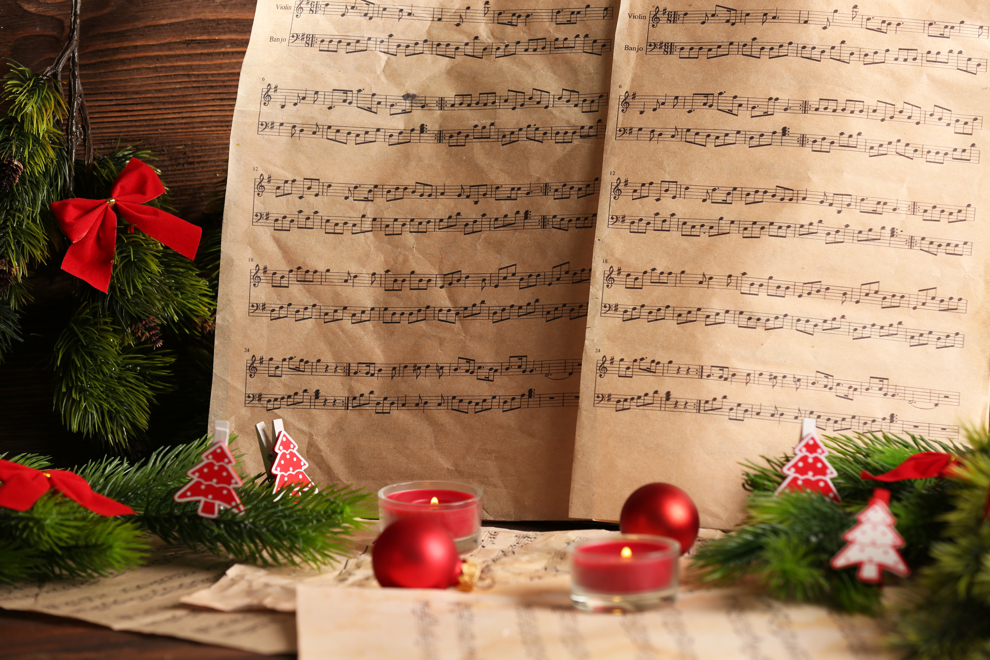Music notes with Christmas decoration close up