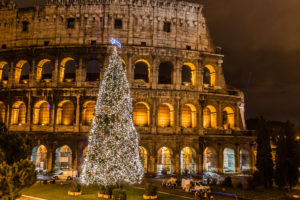 The Iconic, the legendary Coliseum of Rome, Italy on christmas