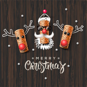 Christmas characters, Santa Claus and reindeer, made from wine cork, art and craft Christmas decoration, vector illustration.