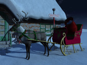 A reindeer with sleigh waiting outside Santa Claus' house a starry night. There is a big bag of christmas presents in the sleigh.