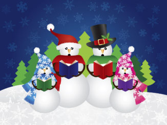 Snowman Family Christmas Carolers with Hats and Scarf Isolated on Snow Scene Background Illustration